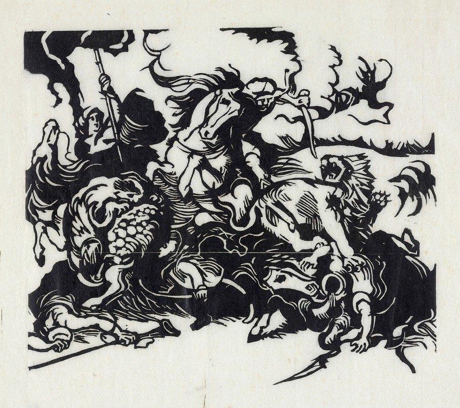 Franz Marc - Lion hunt for Delacroix