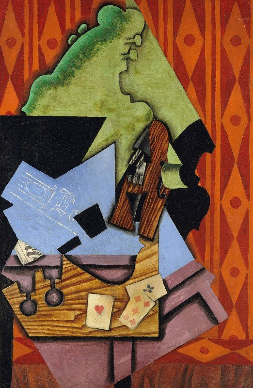 Juan Gris - Violin and Playing Cards on a Table