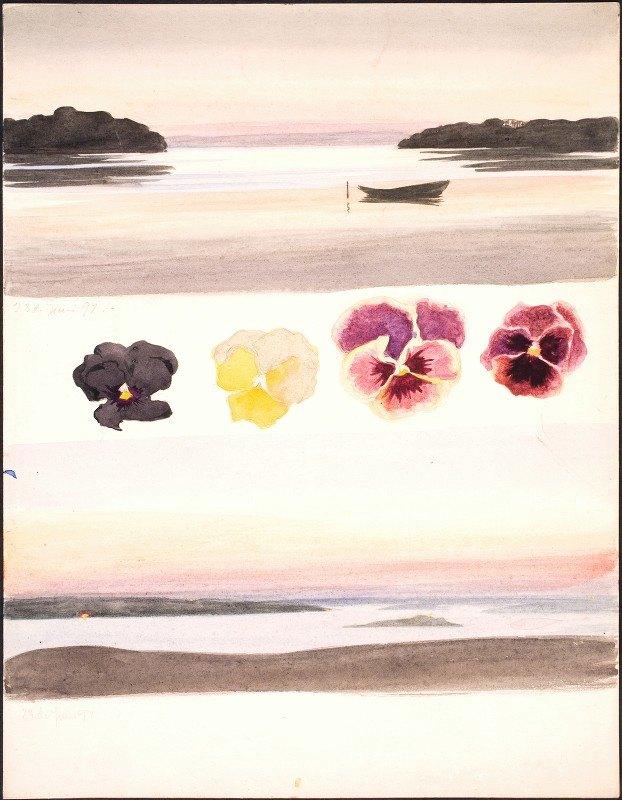 Agnes Slott-Møller - To aftenlandskaber adskilt af studier af blomster