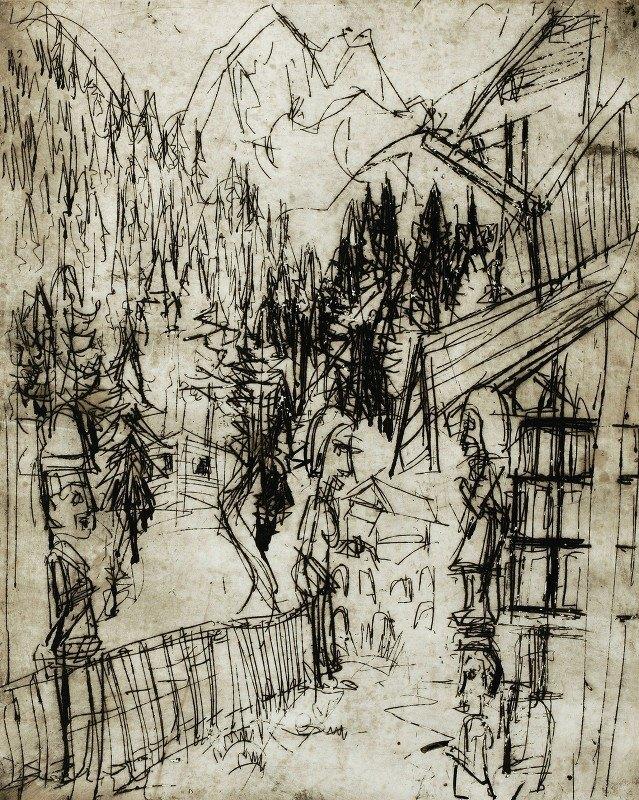 Albert Müller - Kirchnerhaus auf dem Wildboden mit Blick ins Sertig