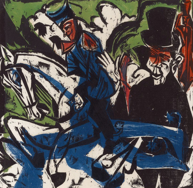 Ernst Ludwig Kirchner - Begegnung Schlemihls mit dem grauen Männlein auf der Landstrasse