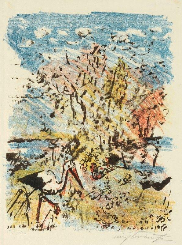Lovis Corinth - Wiese mit Storch und Frosch