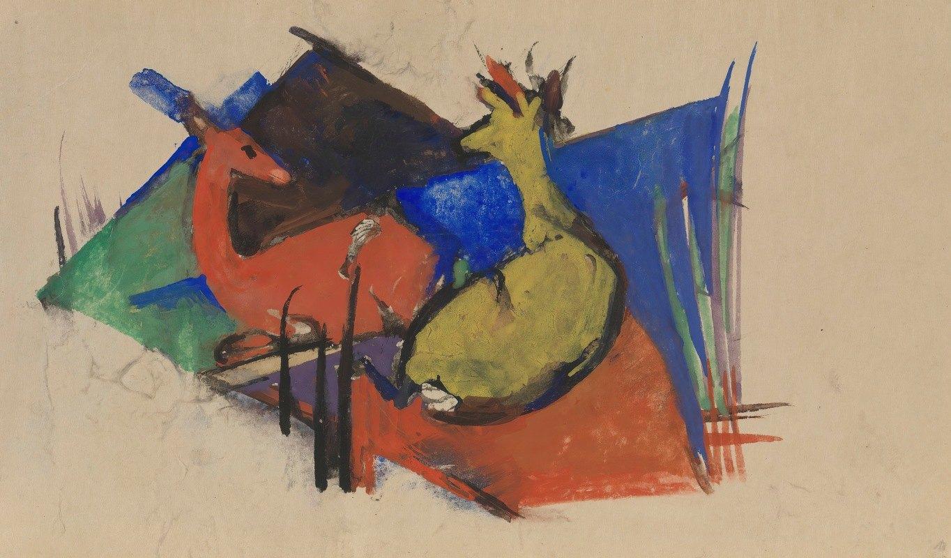 Franz Marc - Two Deer Lying Down