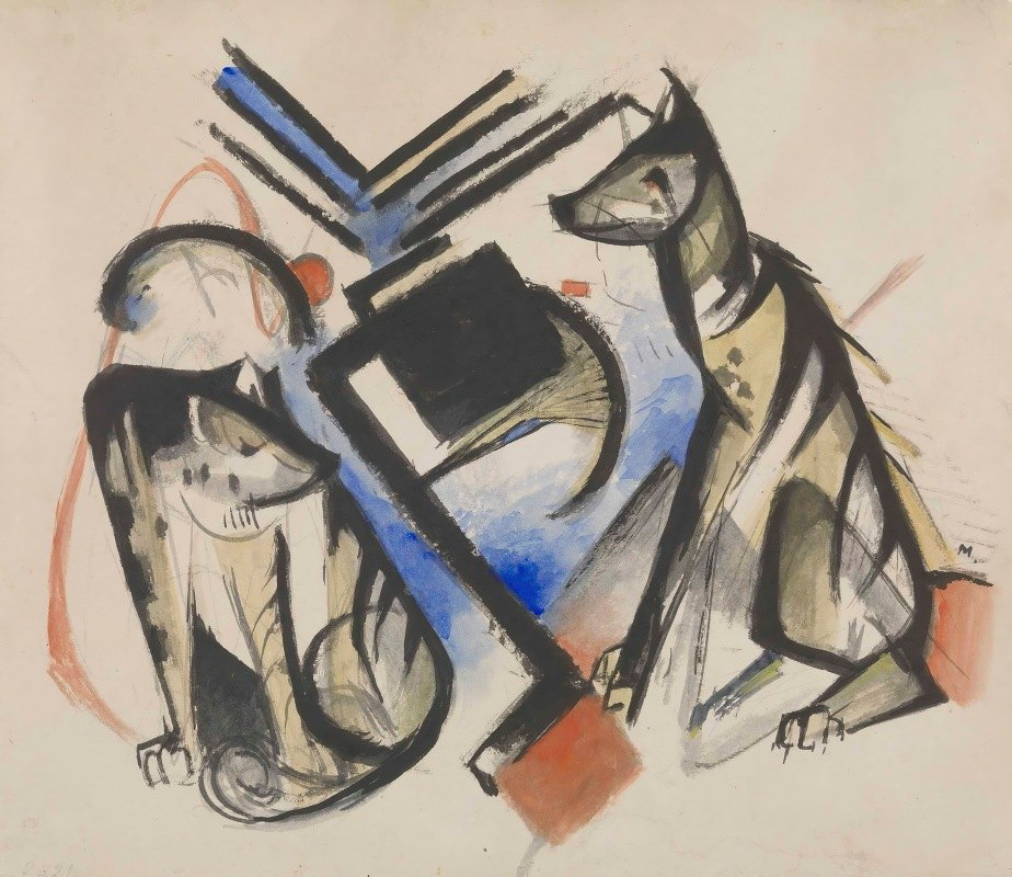 Franz Marc - Two Wolves