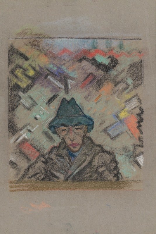 Arnold Peter Weisz-Kubínčan - Bust of a Man in a Hat with Decorative Background