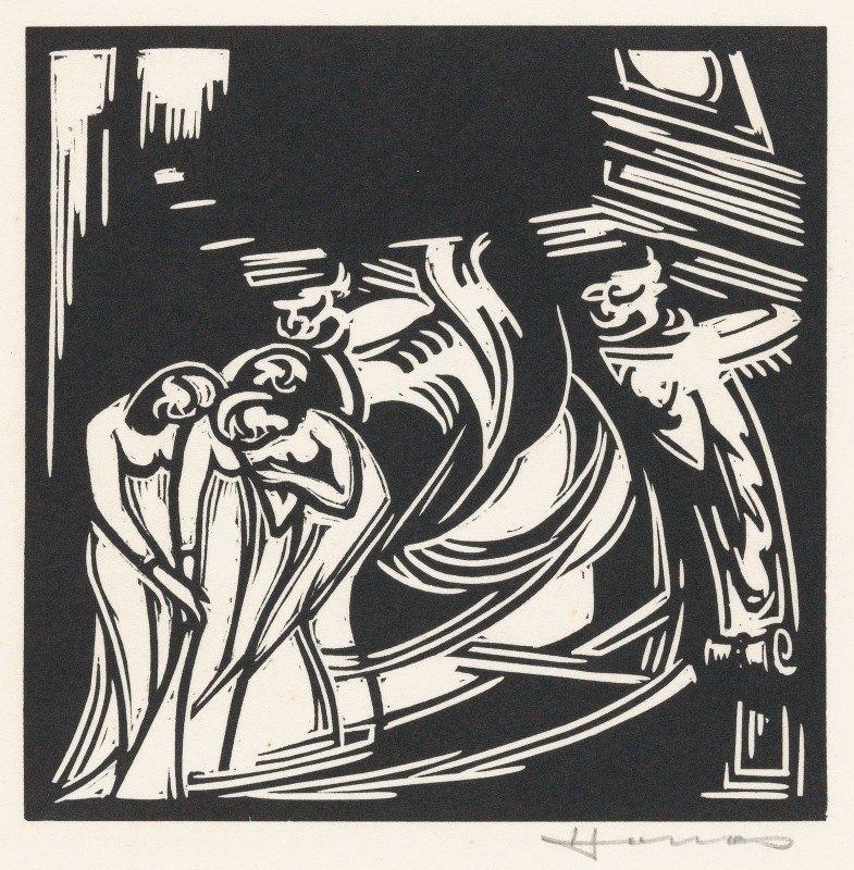 Henri Jonas - Twee fantasiefiguren bij drie vrouwen