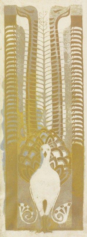 Carel Adolph Lion Cachet - Decoratief ontwerp met een liervogel