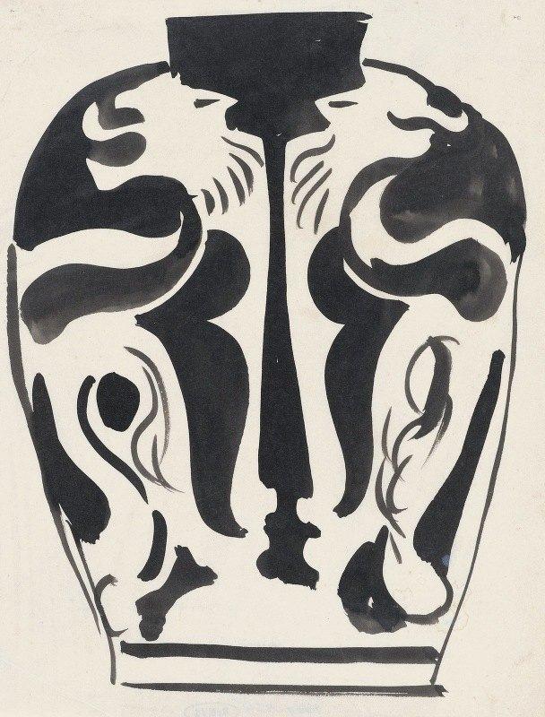 Carel Adolph Lion Cachet - Ontwerp voor een vaas met leeuwenmotief