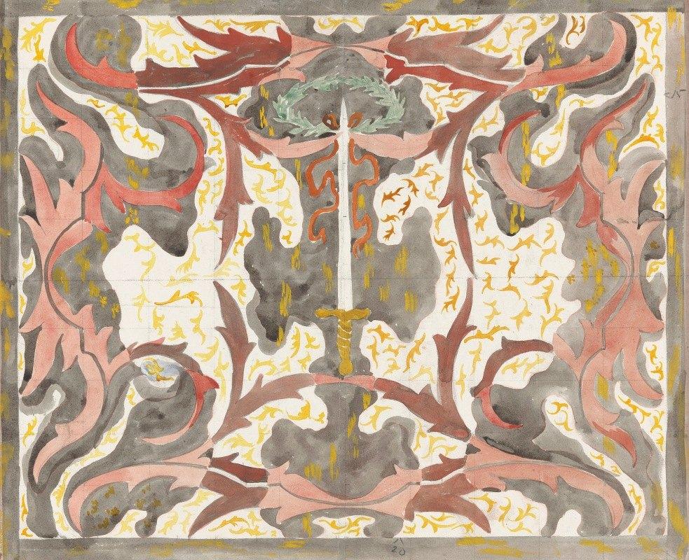 Carel Adolph Lion Cachet - Decoratief ontwerp met opstaande degen