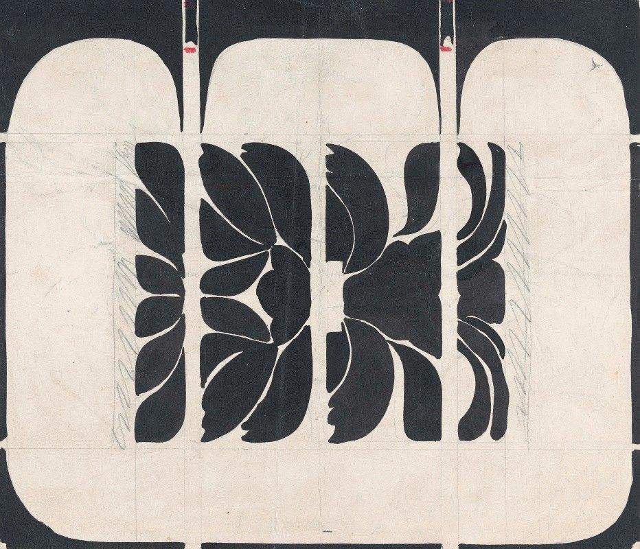 Carel Adolph Lion Cachet - Ontwerp voor de voorkant van een boekband met bloemmotief