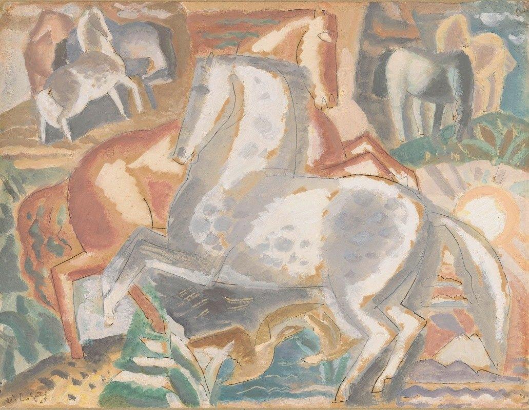 Leo Gestel - Paarden in landschap