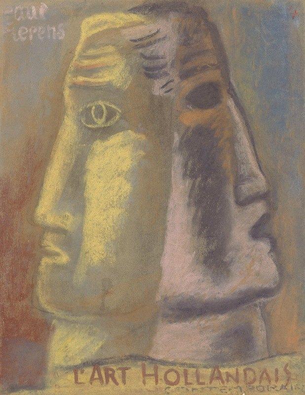 Leo Gestel - Ontwerpschets voor Paul Fierens 'l'Art Hollandais contemporain'; twee mannen hoofden, en profil afgebeeld, van elkaar weg kijkend.