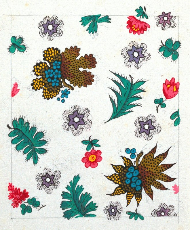 Anonymous - Floral design for printed textile Pl II