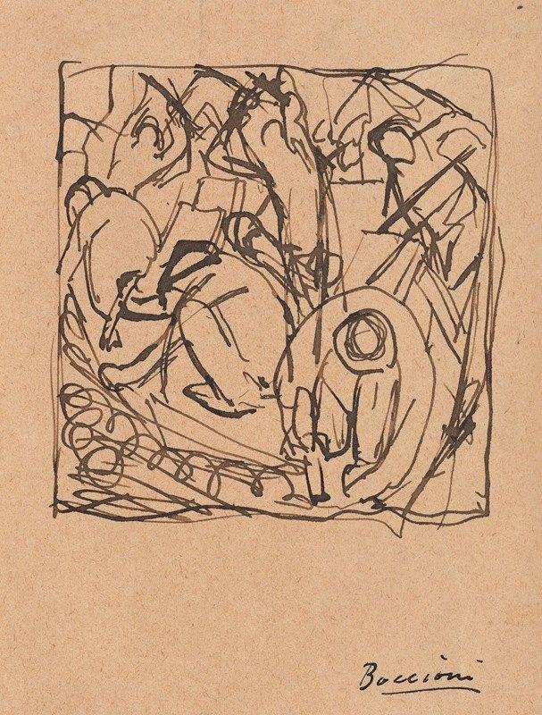 Umberto Boccioni - Composition Study for 'The Street Pavers'