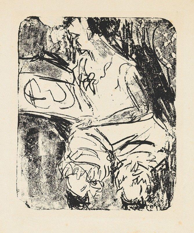 Ernst Ludwig Kirchner - Graphik besehendes Mädchen