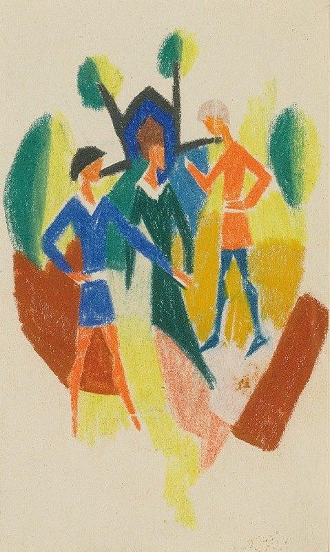 August Macke - Zwei Männer Und Frau (Stickerei) (Two Men AndA Woman (Embroidery)