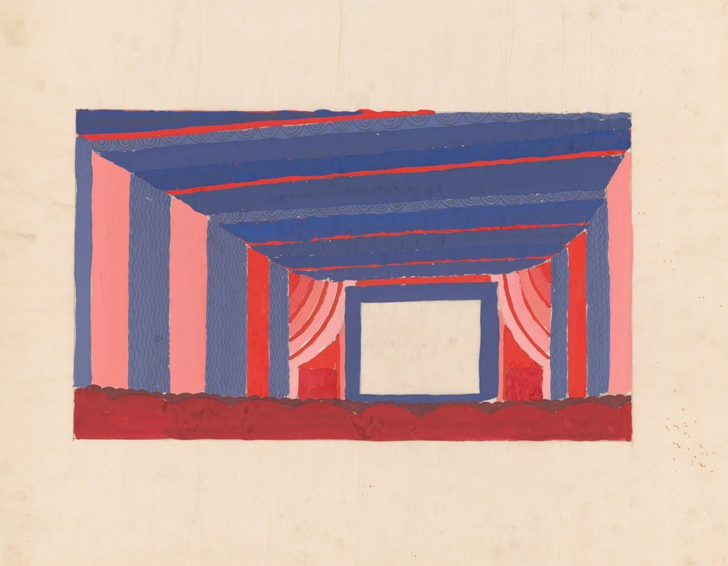 Winold Reiss - Design proposals for Puck Theater, New York, NY.] [Interior perspective study
