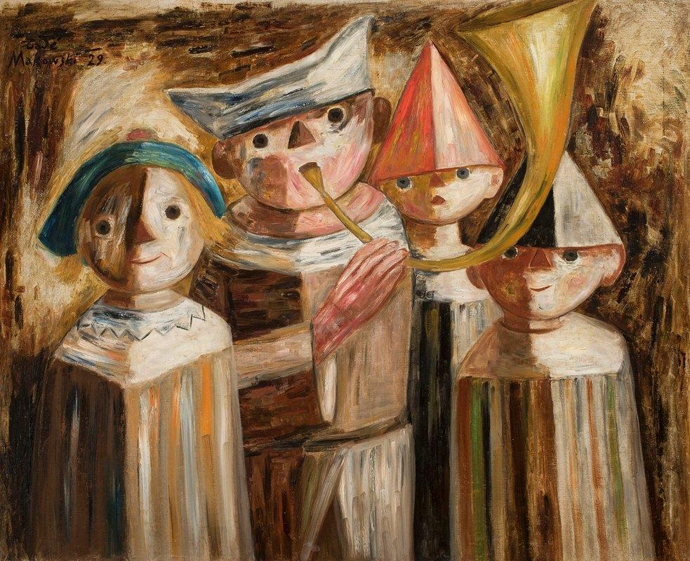 Tadeusz Makowski - Four children with a trumpet