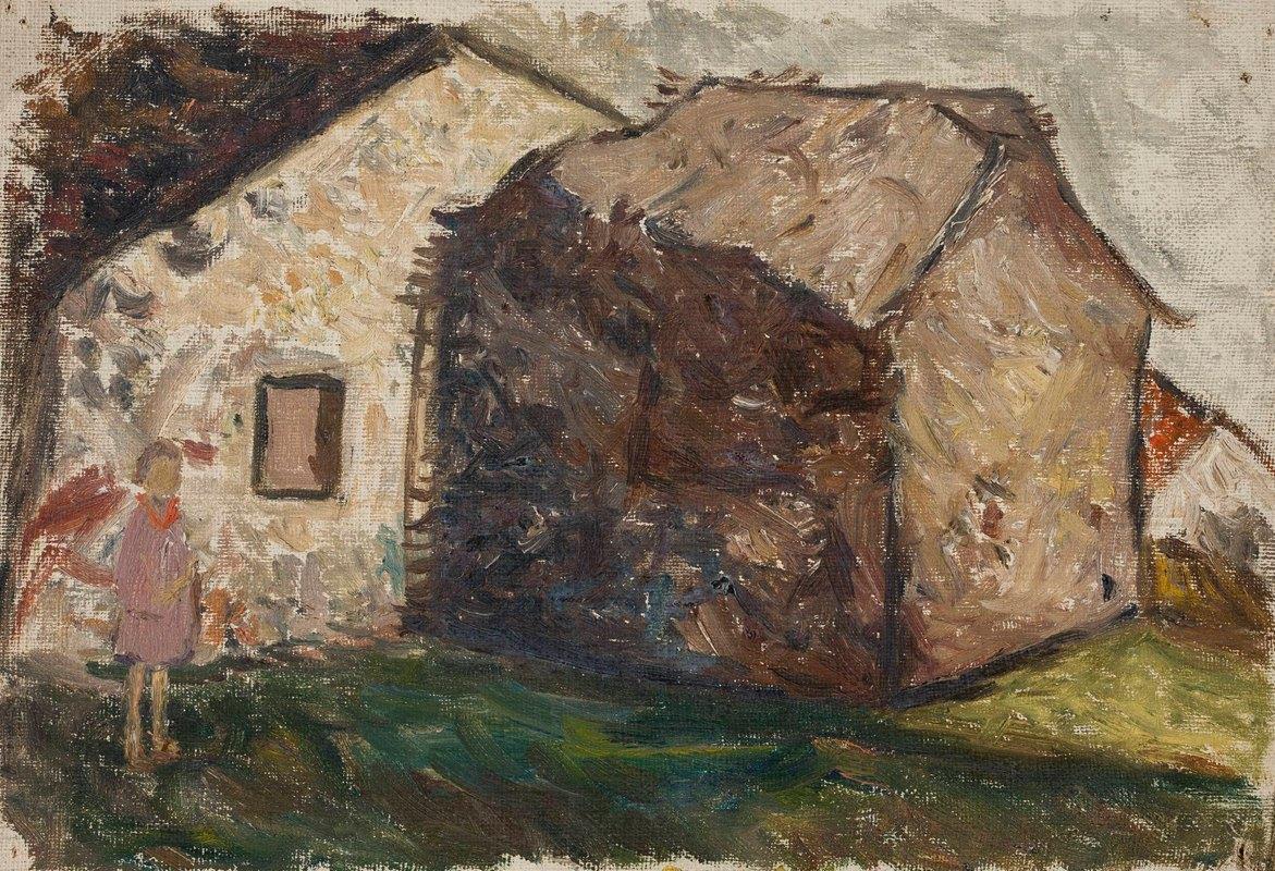 Tadeusz Makowski - Little girl in front of a house