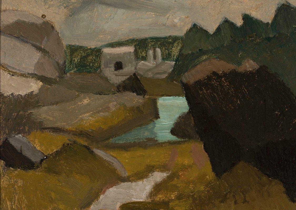 Tadeusz Makowski - Rocky landscape with water