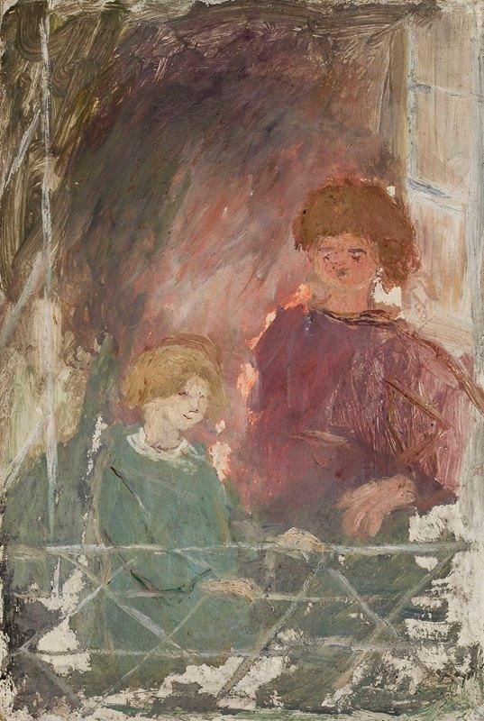 Tadeusz Makowski - Two children on a balcony