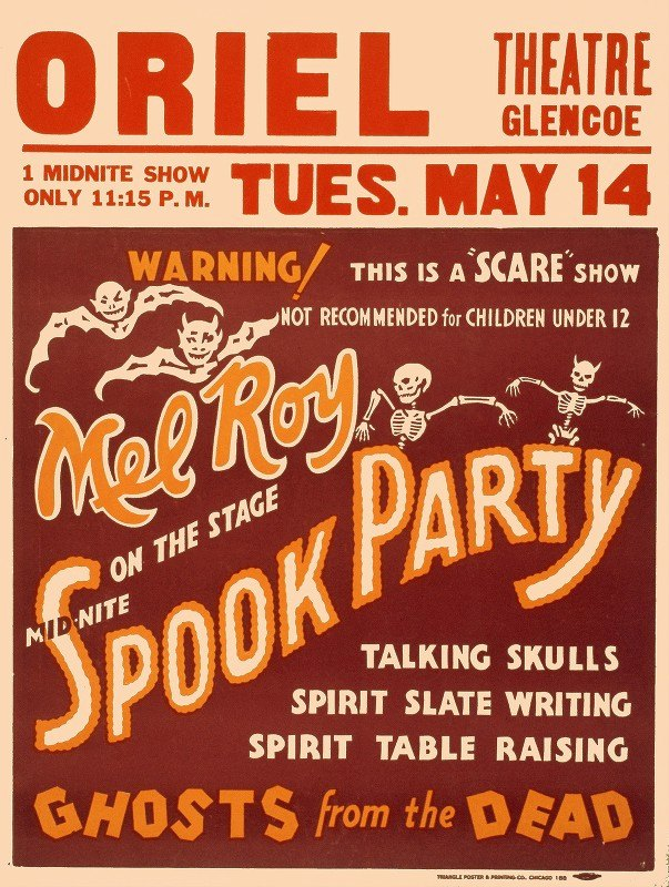 Triangle Poster and Printing Co - Mel Roy on the stage mid-nite, spook party