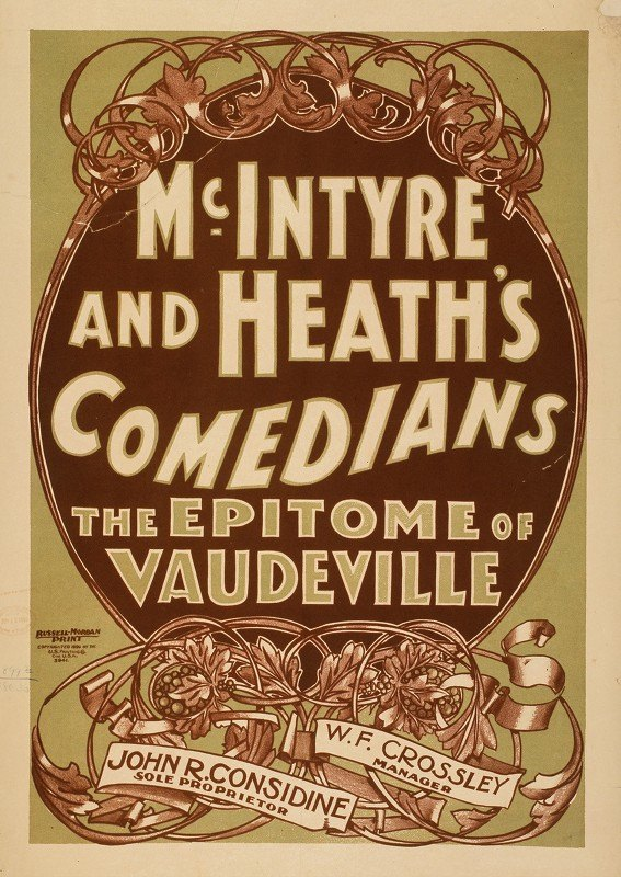 U.S. Printing Co. - McIntyre and Heath's Comedians the epitome of vaudeville
