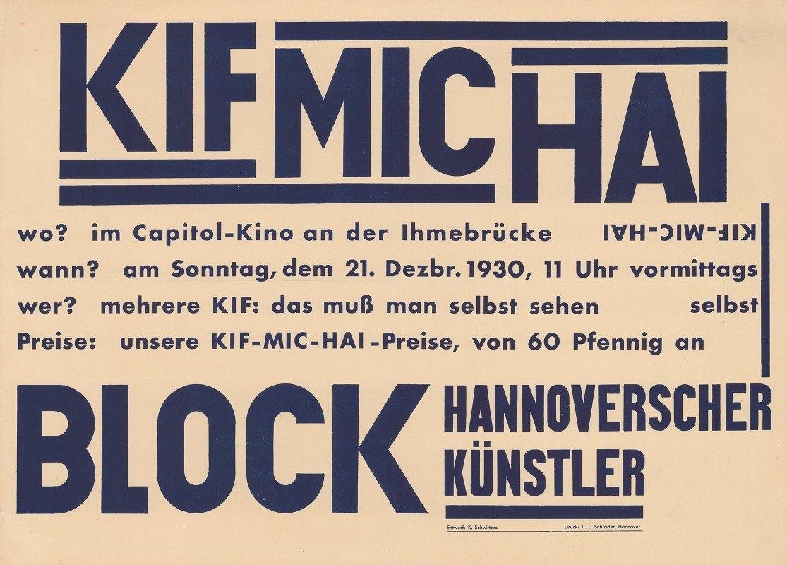 Kurt Schwitters - KIF MIC HAI, Block Hannoverscher Künstler