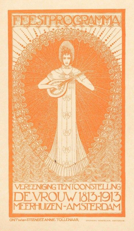 Annie Ermeling - Ontwerp voor een advertentie voor het feestprogramma van de tentoonstelling 'De Vrouw 1813-1913' in Amsterdam