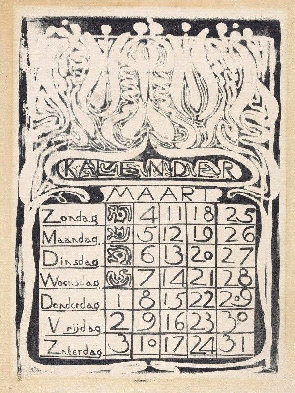 Carel Adolph Lion Cachet - Kalenderblad maart 1894
