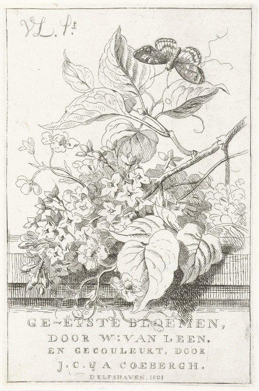 Willem van Leen - Bloemenstudie met vlinder