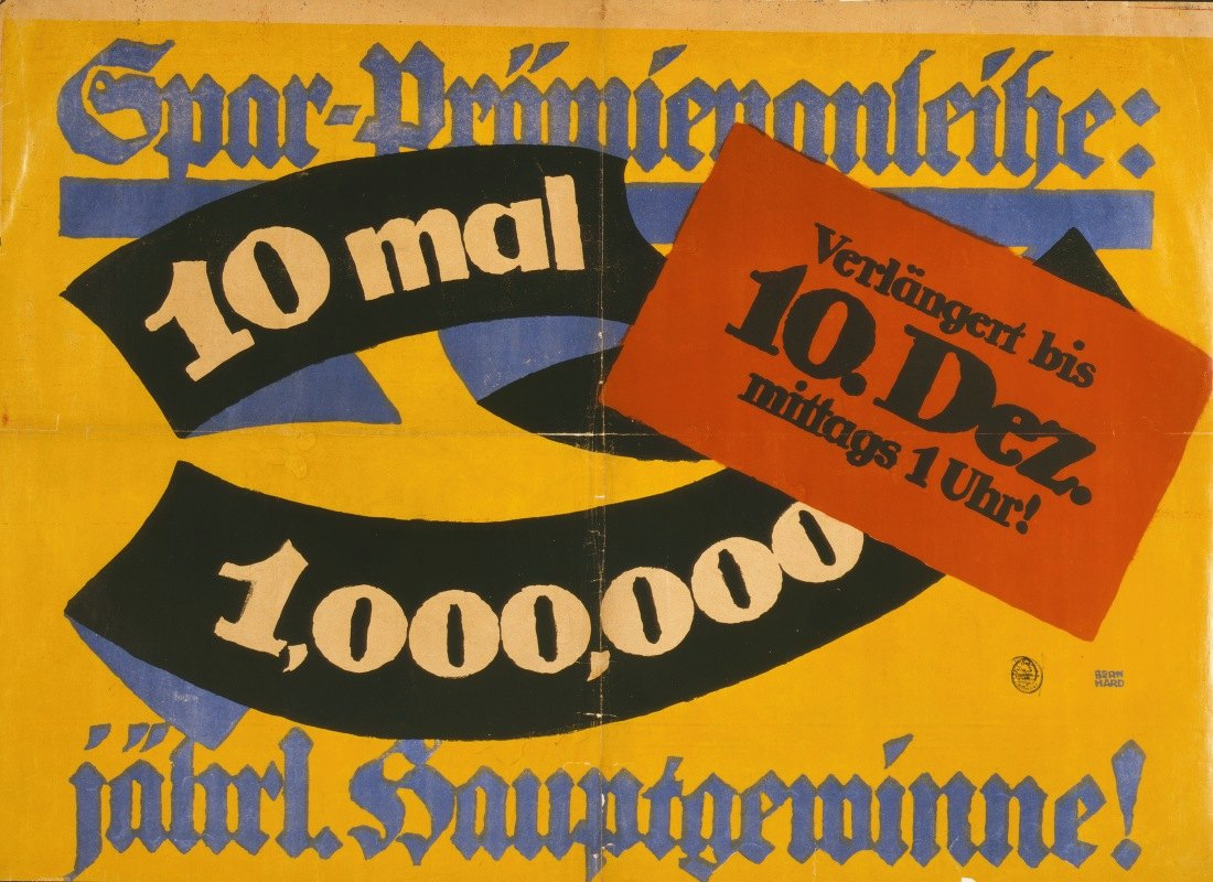 Lucian Bernhard - Spar-Prämienanleihe; 10 mal 1,000,000 jährl. Hauptgewinne!