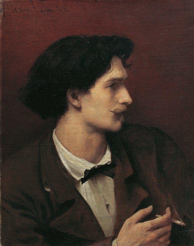 Anselm Feuerbach - Self-portrait with cigarette