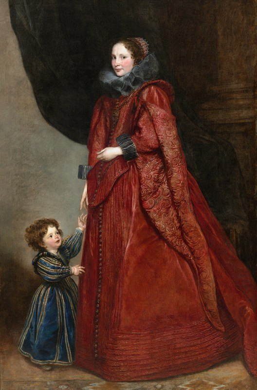 Anthony van Dyck - A Genoese Lady with Her Child