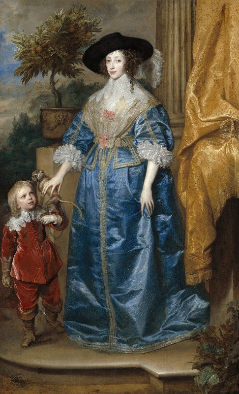Anthony van Dyck - Queen Henrietta Maria with Sir Jeffrey Hudson