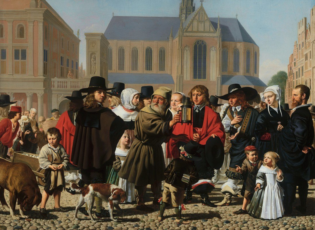 Caesar Van Everdingen - Diogenes Looking for an Honest Man (Portrait Historié of the Steyn Family)
