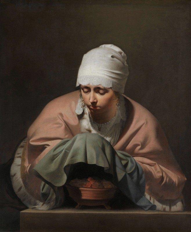 Caesar Van Everdingen - A Young Woman Warming her Hands over a Brazier