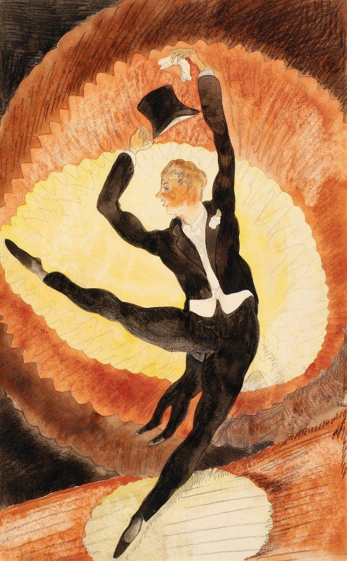 Charles Demuth - In Vaudeville, Acrobatic Male Dancer with Top Hat