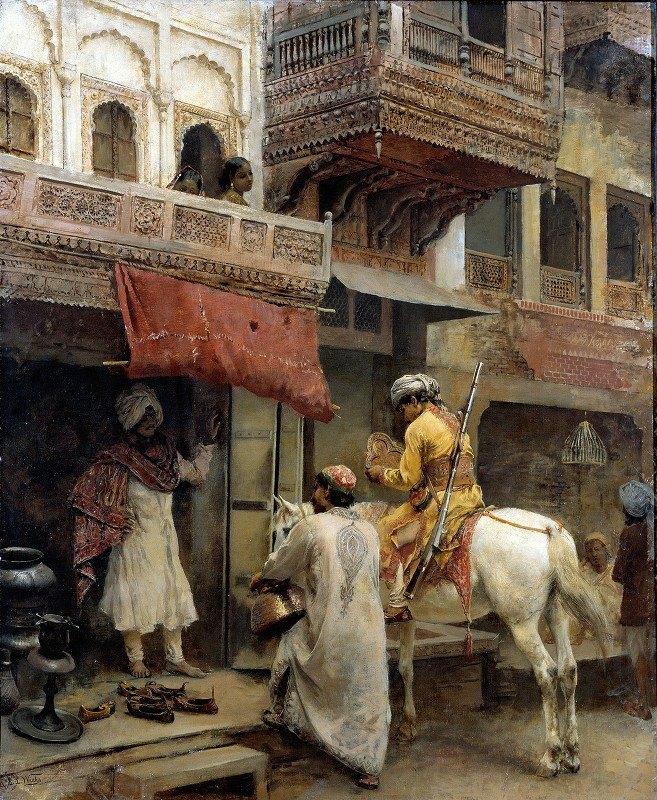 Edwin Lord Weeks - Street Scene in India