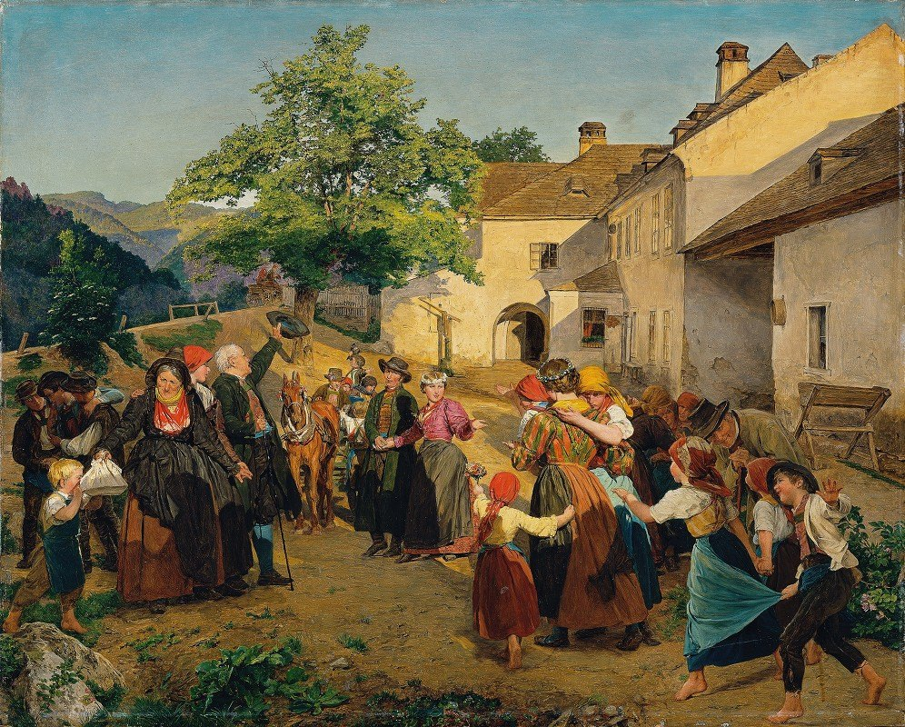 Ferdinand Georg Waldmüller - The farewell of the bride from her parents' home