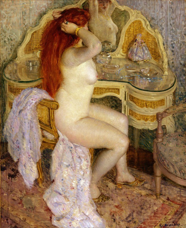 Frederick Carl Frieseke - Nude Seated at Her Dressing Table