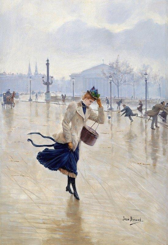 Jean Béraud - Windy Day, Place De La Concorde