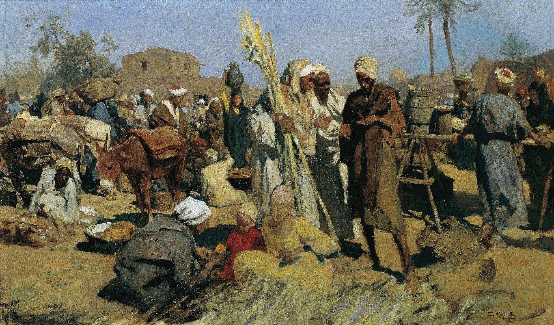 Leopold Carl Müller - Sugar cane market Market in Upper Egypt