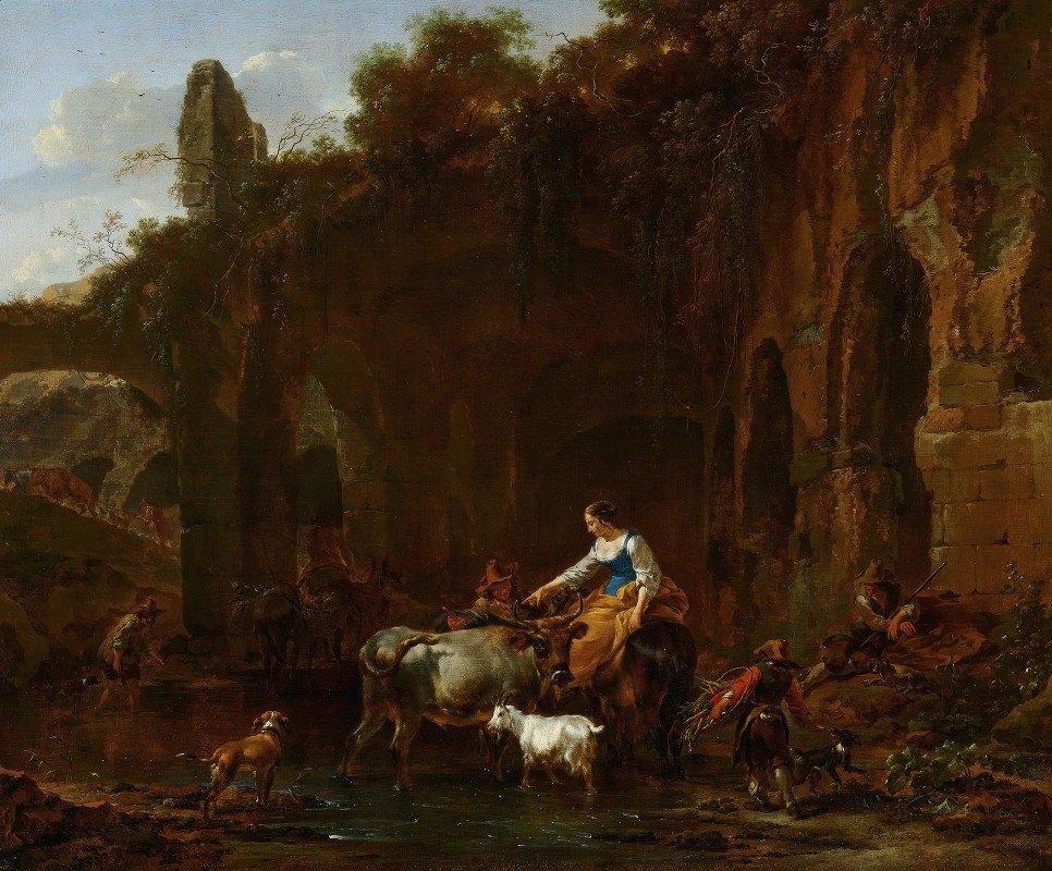 Nicolaes Pietersz. Berchem - Shepherds beside Roman Ruins