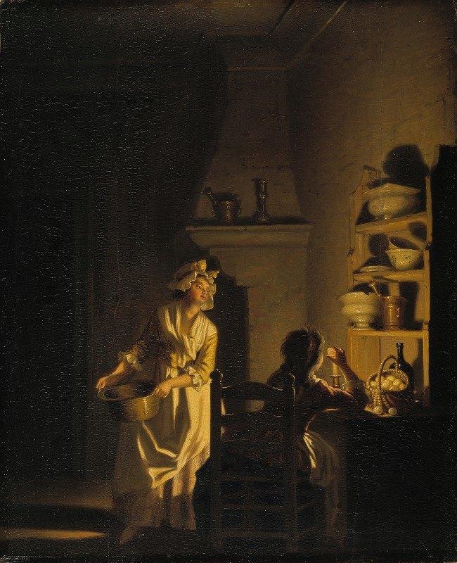 Pehr Hilleström - Testing Eggs. Interior of a Kitchen