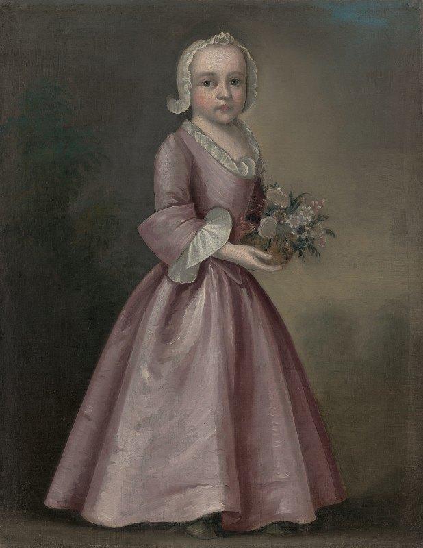 Joseph Badger - Little Girl Holding Flowers