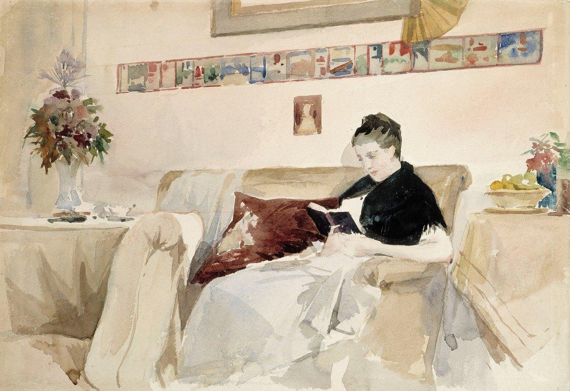 Albert Edelfelt - Artist's Wife Reading On The Sofa