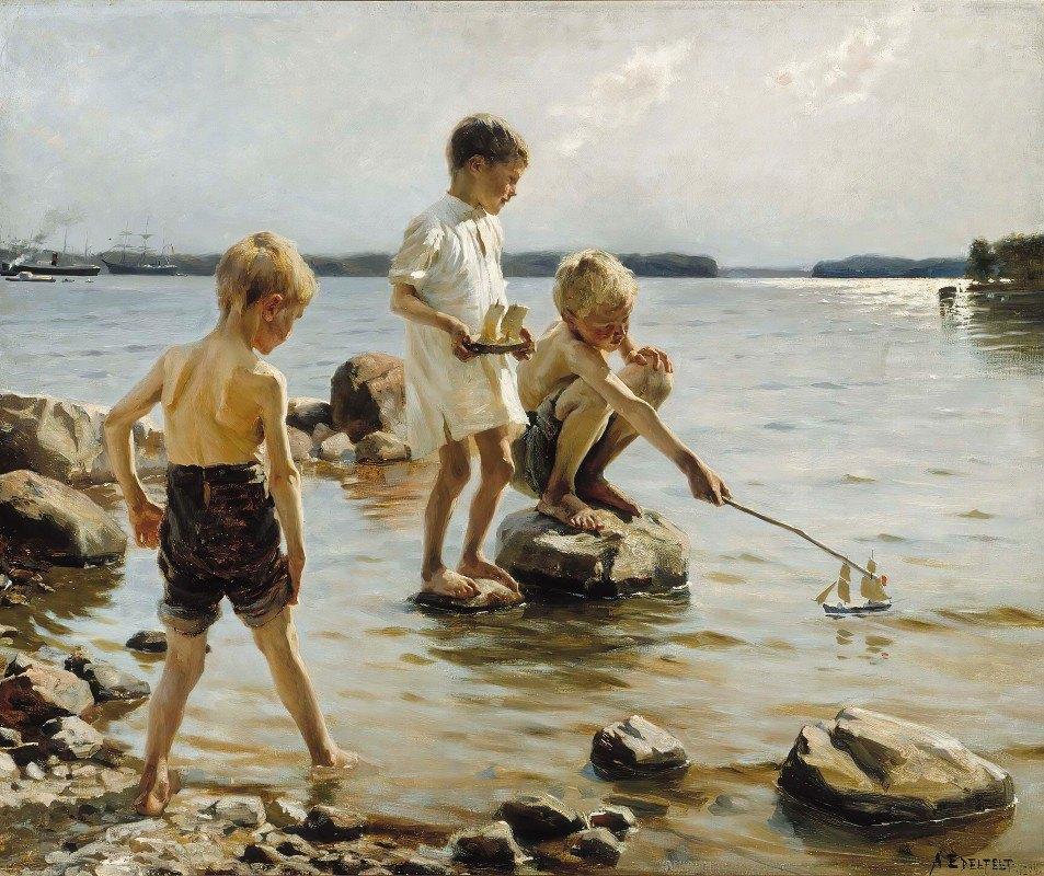 Albert Edelfelt - Boys Playing On The Shore (Children Playing On The Shore)