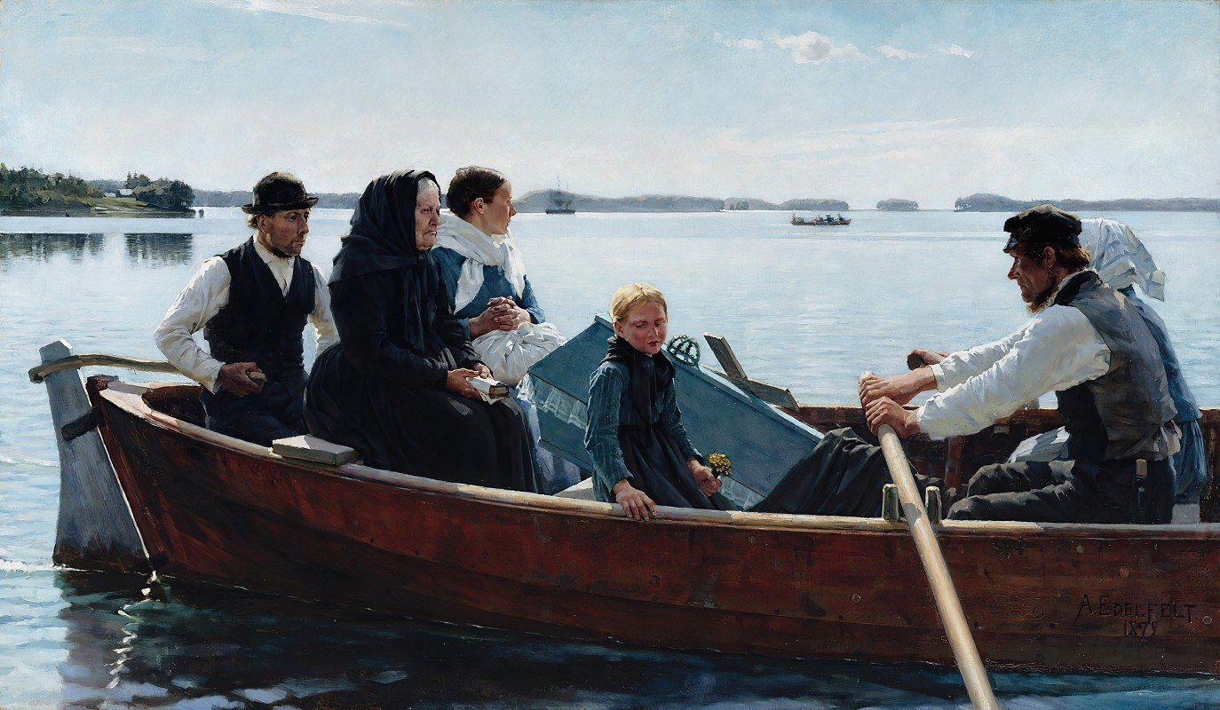 Albert Edelfelt - Conveying The Child's Coffin (A Child's Funeral)
