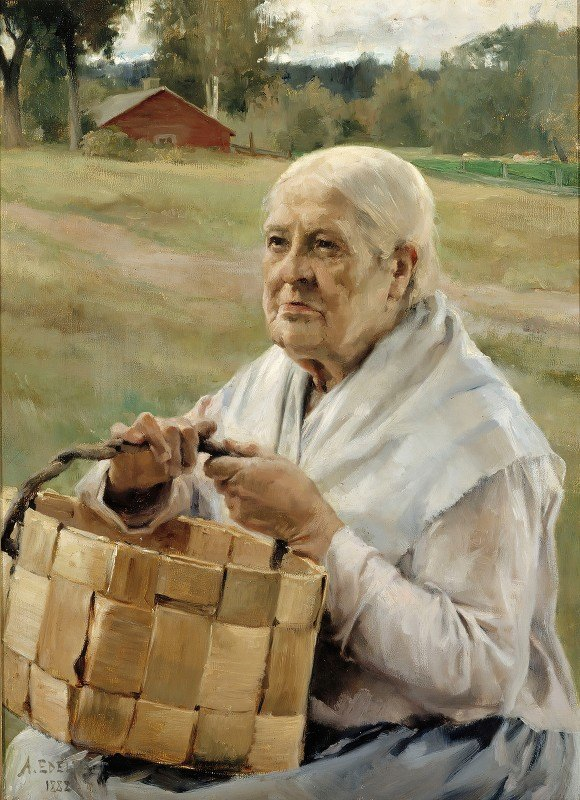 Albert Edelfelt - Old Woman With A Chip Basket